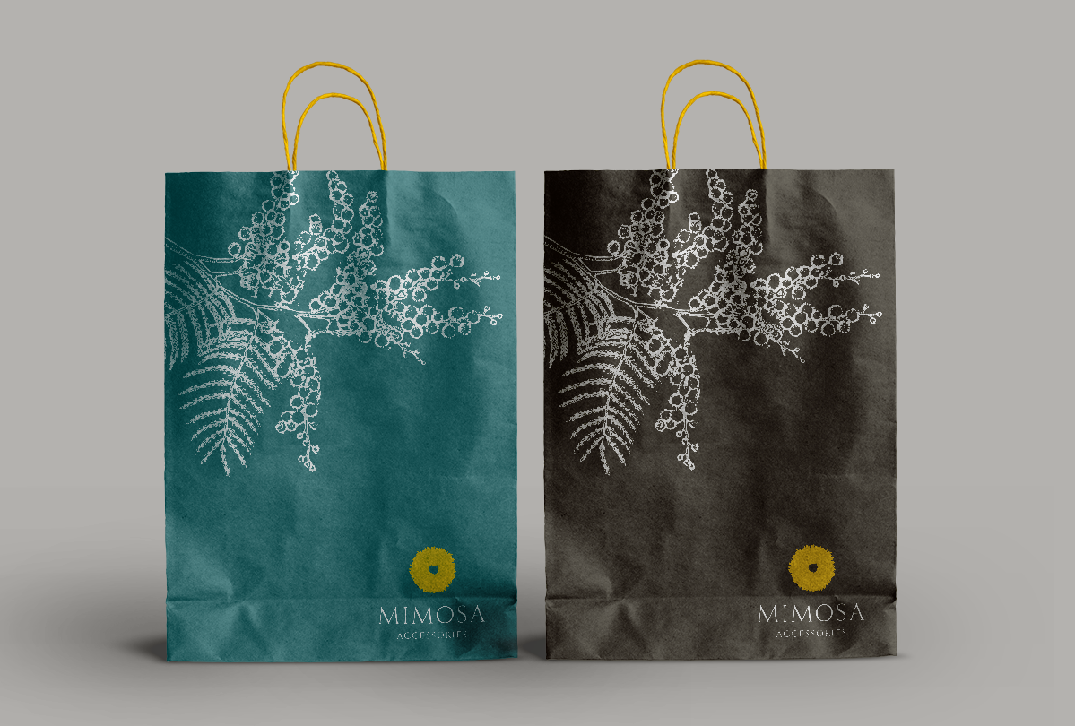 Retail bag design and branding for Mimosa Accessories