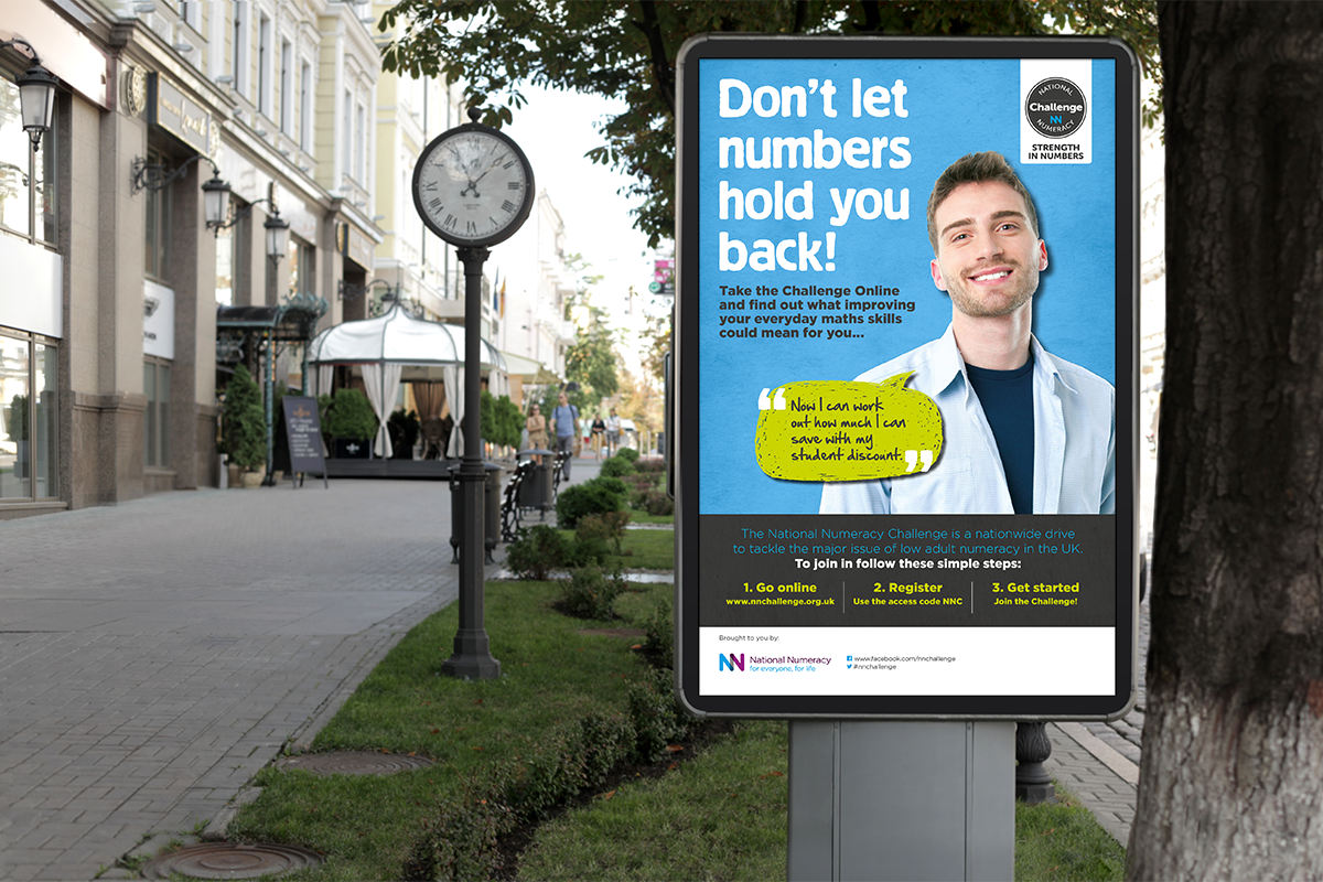 Awareness campaign advertising hoarding for maths challenge