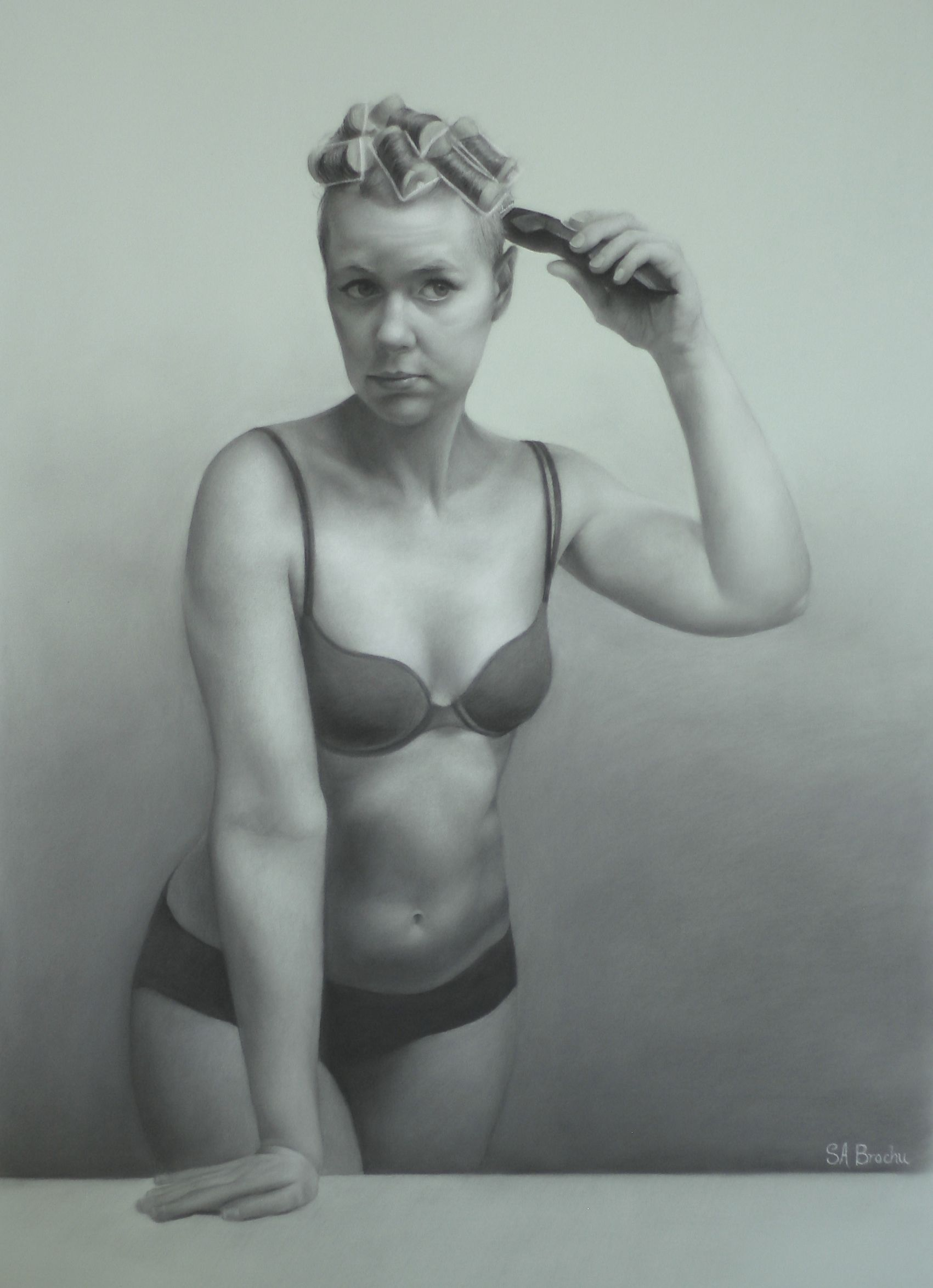 """Morning Shave , charcoal and white chalk on tinted paper, 18 x 26"""""""