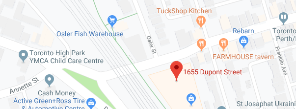 The studio is located less than a block East of the intersection where Annette Street, Dundas West and Dupont Street all meet! The other close major intersection is Dupont and Symmington.