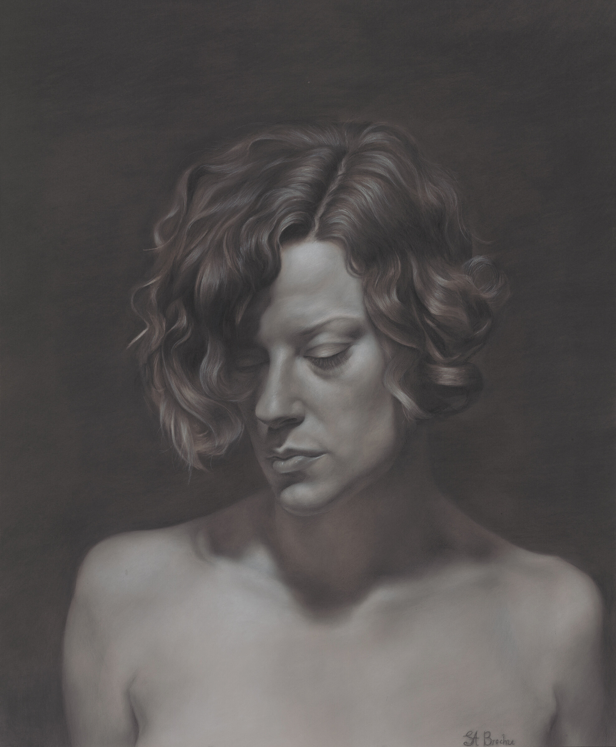 """Solitude, 26 x 30"""", charcoal and white chalk on toned paper"""