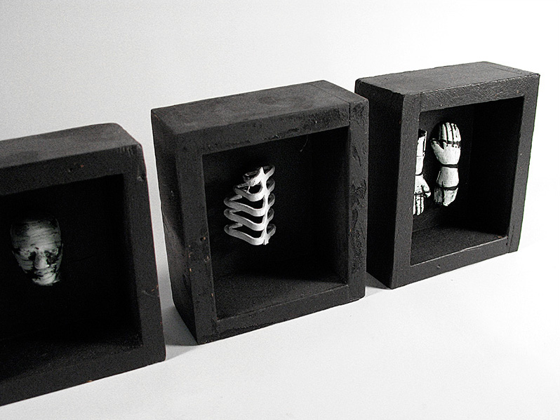 "Pain Entombment Boxes, acrylic / plastic / wood / metal, 4X16"", 2006."