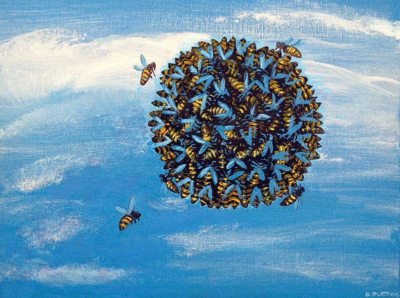 "Emergence acrylic on canvas, 9X12"", 2006"