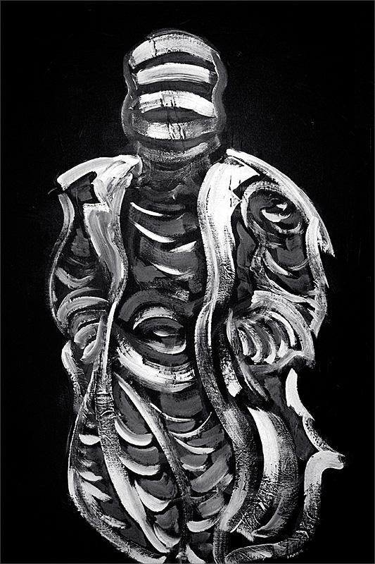 """Mummified, acrylic on canvas, 24X36"""", 2006"""