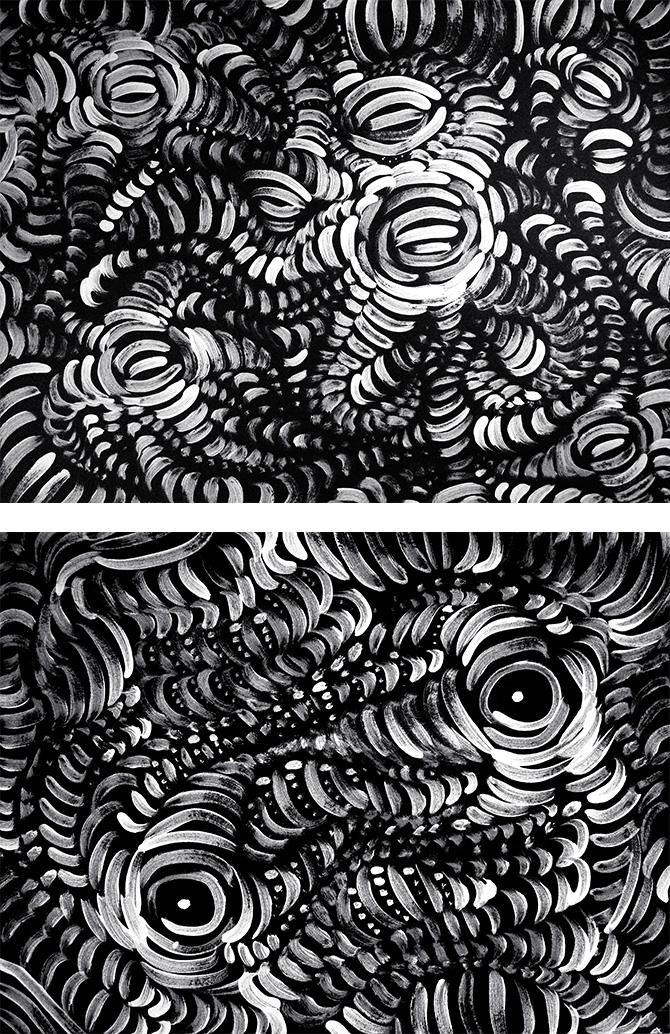 "Awakening, diptych, acrylic on paper, 18X24"" each, 2006"