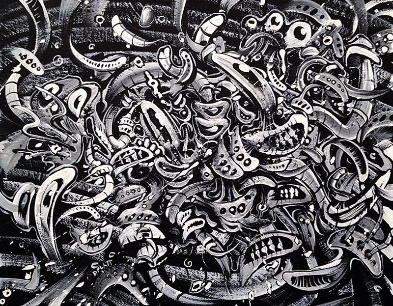 "Congested acrylic on canvas, 11X14"", 2011"