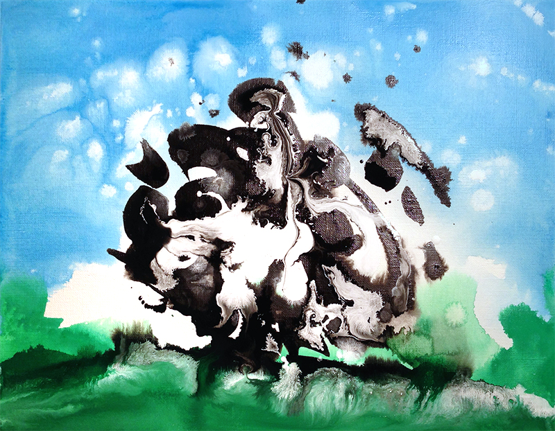 "Cow, acrylic on paper, 9X12"", 2014"