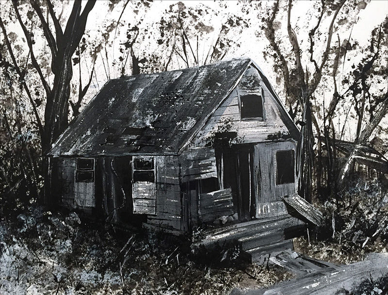 "Abandoned 1, acrylic on paper, 18X24"", 2015"