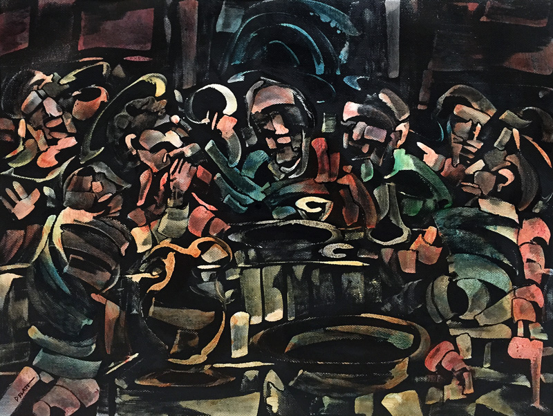 """The Last Supper, acrylic on canvas, 12X16"""". 2016"""