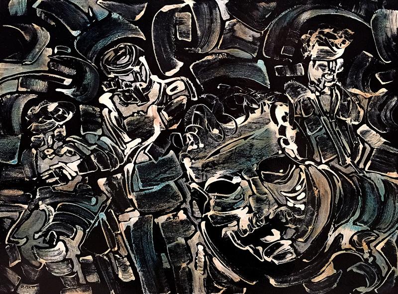 "Asylum, acrylic on canvas, 12X16"". 2016"