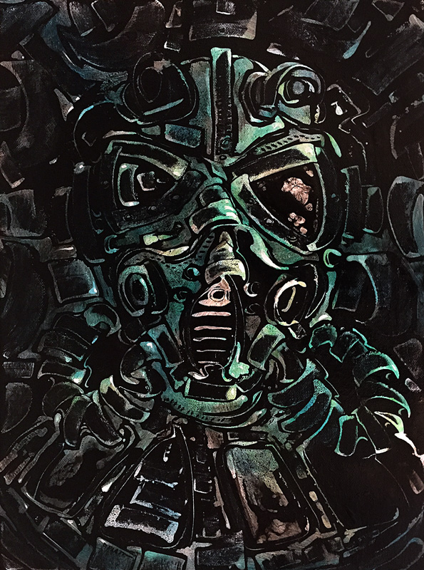 """Gunner, acrylic on canvas, 16X12"""". 2016"""