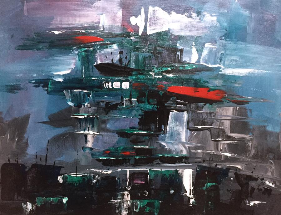 "Untitled, acrylic on canvas 13X17"", 2017"