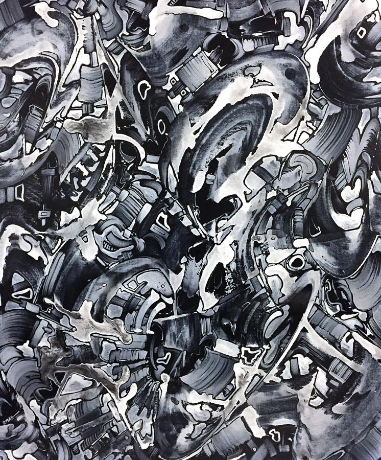 "Untitled, acrylic on canvas, 24X18"", 2017"
