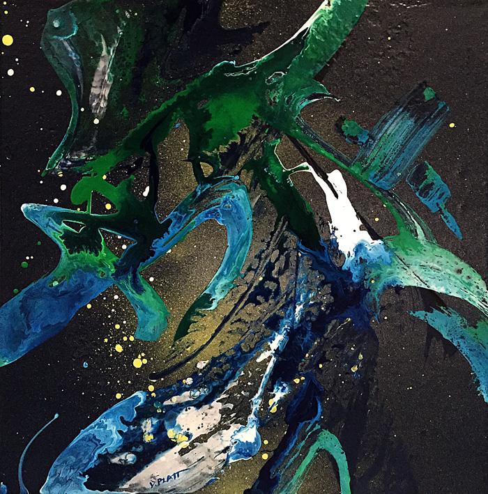 "Untitled, acrylic / spray paint on canvas, 8X8"", 2016"