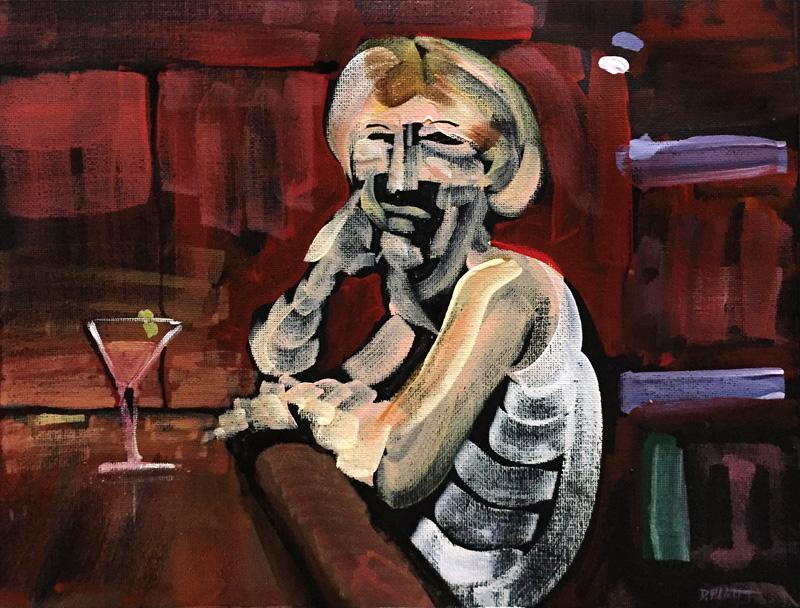 """Unsocial, acrylic on canvas, 9X12"""", 2018"""