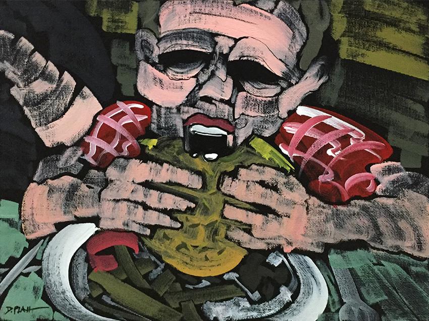 """Burger, acrylic on canvas, 9X12"""", 2018"""