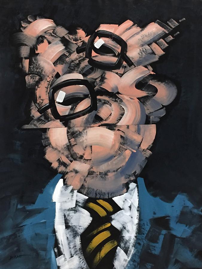 "Portrait of Nicholas Baum #12 acrylic on canvas, 48X36"" 2018"