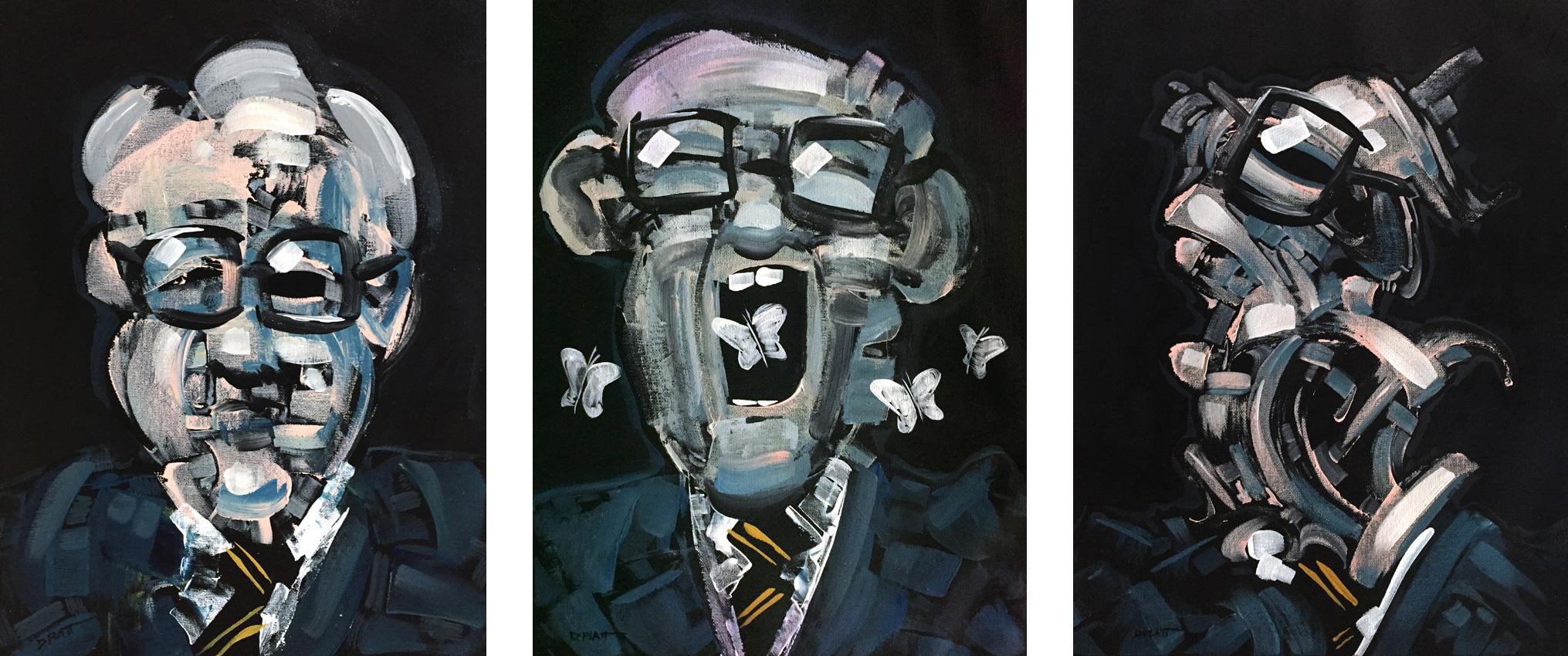 "3 Portraits of Nicholas Baum, acrylic on canvas, 16X12"" each, 2018"
