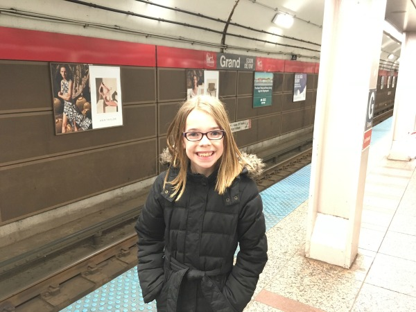 Tess's first subway ride - catching the L Train.