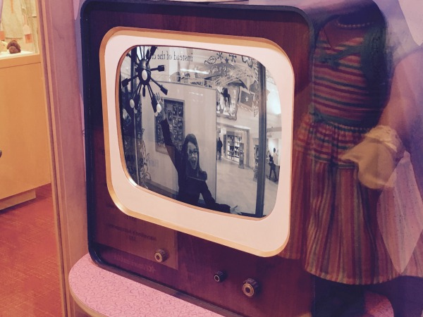 Tess on tv in the 1950s, Mary Ellen doll display.