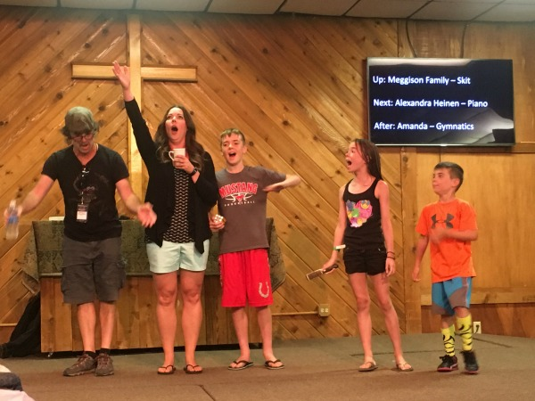 "The Meggison Family Actors performing the skit, ""We're Going to Family Camp!"" in four acts. Act Four (shown): Opera"