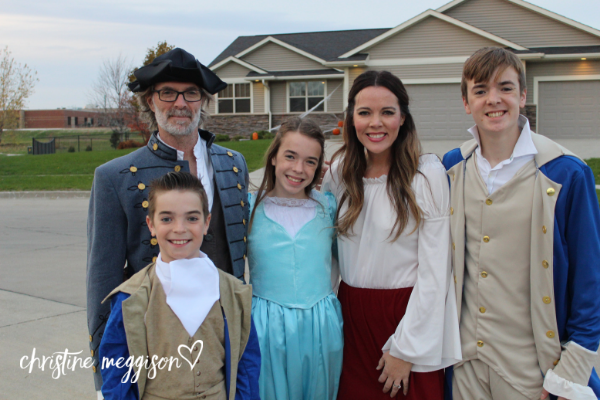 For our 10th year wearing family-themed costumes, we honored the 10-dollar president = Alexander Hamilton! L to R: George Washington, Alexander Hamilton, Eliza Schuyler Hamilton, Angelica Schuyler and Aaron Burr.