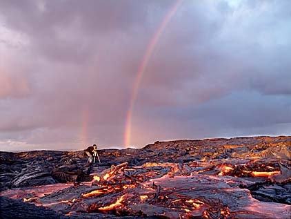 Grant shooting lava in Hawai`i, by Don Swanson, USGS Hawaiian Volcano Observatory, courtesy of the Honolulu Advertiser