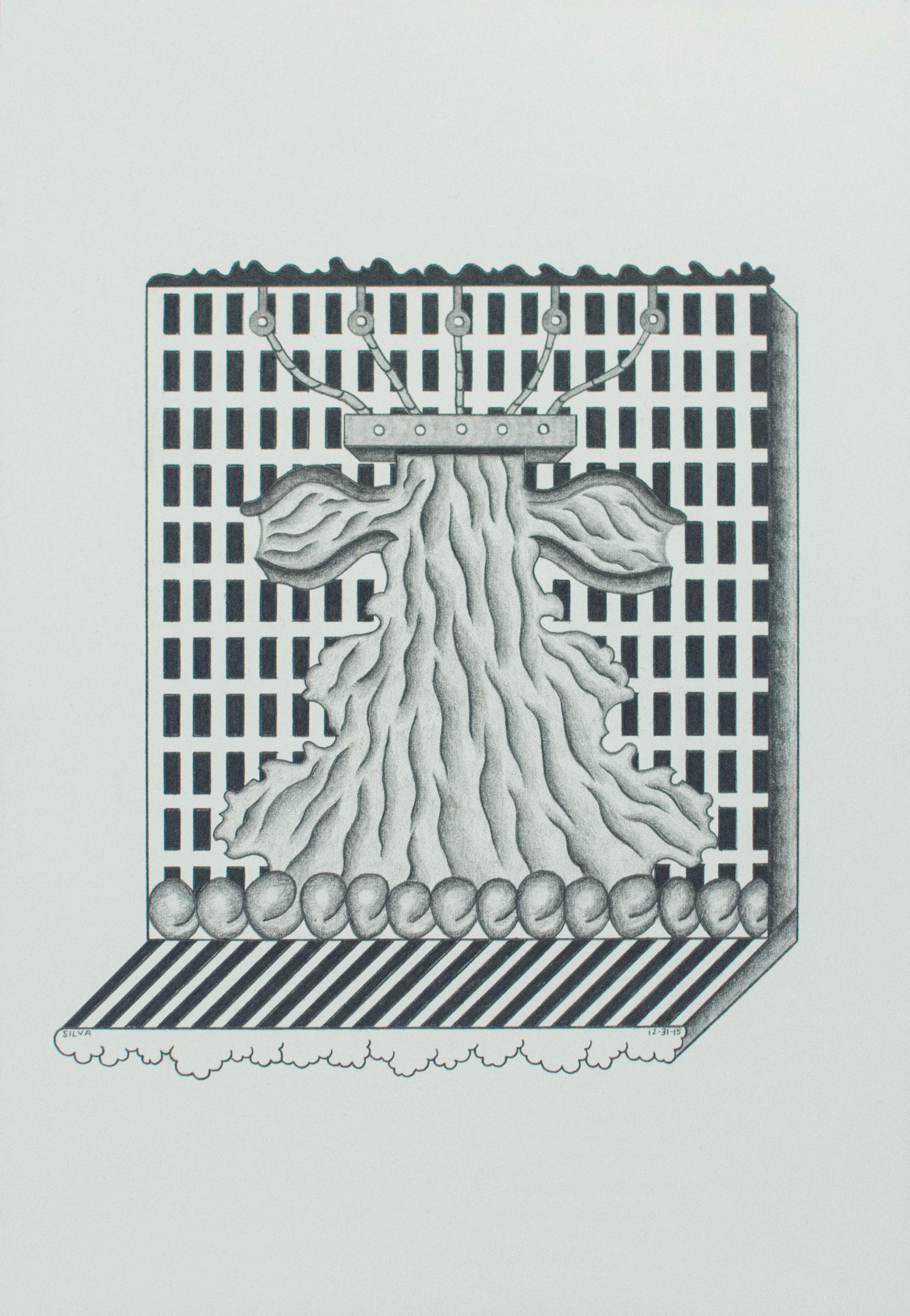 12-31-15, 2015, Graphite on paper, 7 x 10 inches