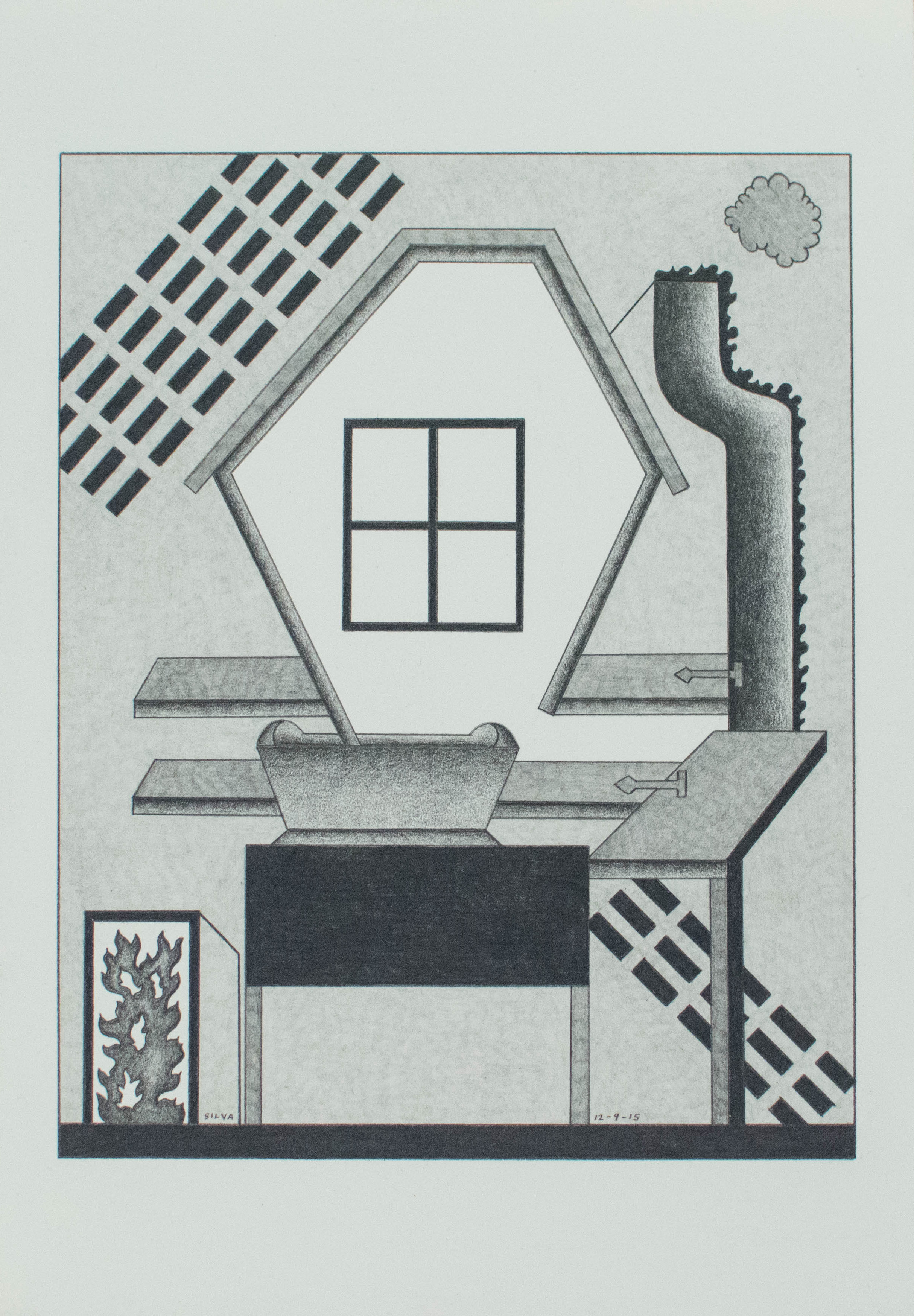 12-9-15, 2015, Graphite on paper, 7 x 10 inches