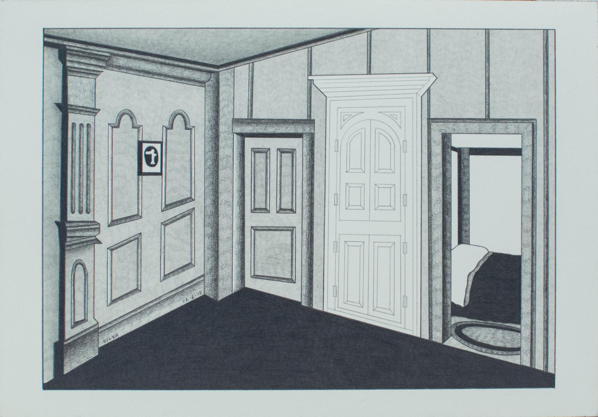 12-6-15, 2015, Graphite on paper, 7 x 10 inches