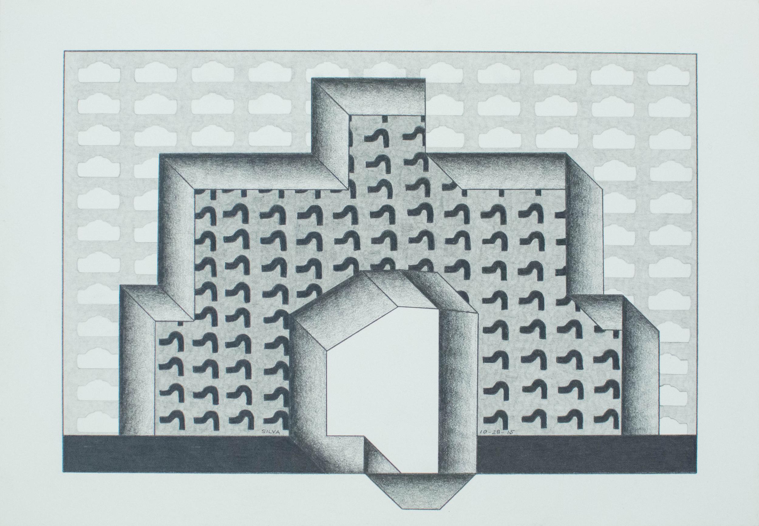 10-28-15, 2015, Graphite on paper, 7 x 10 inches