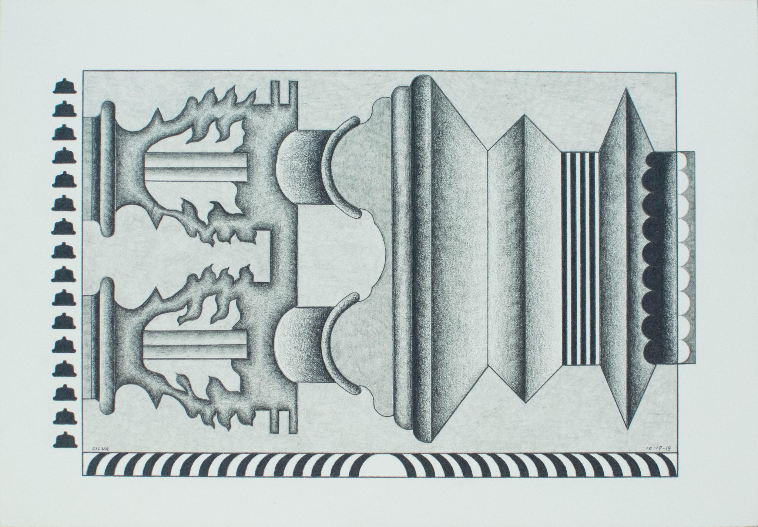 10-19-15, 2015, Graphite on paper, 7 x 10 inches