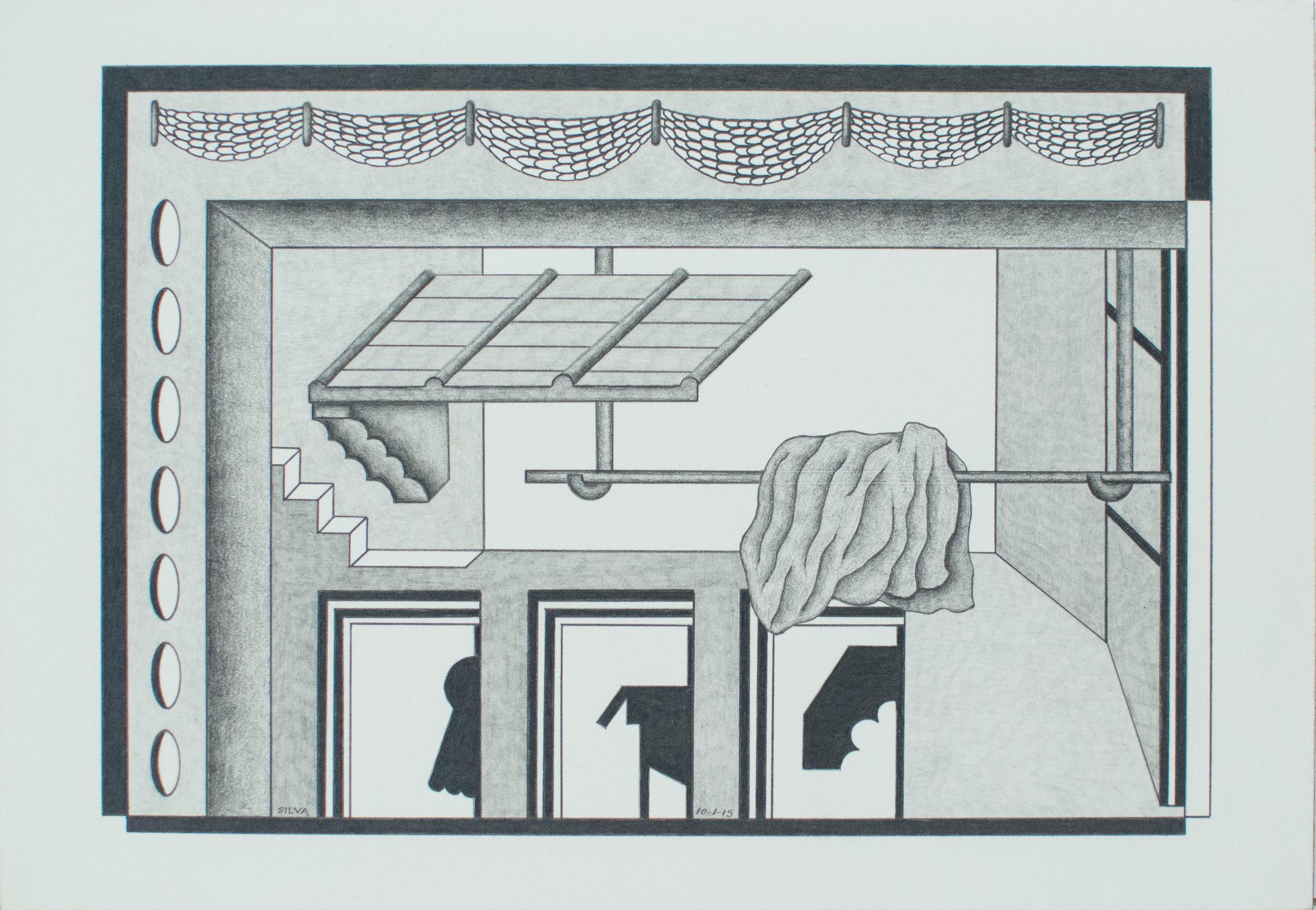 10-1-15, 2015, Graphite on paper, 7 x 10 inches