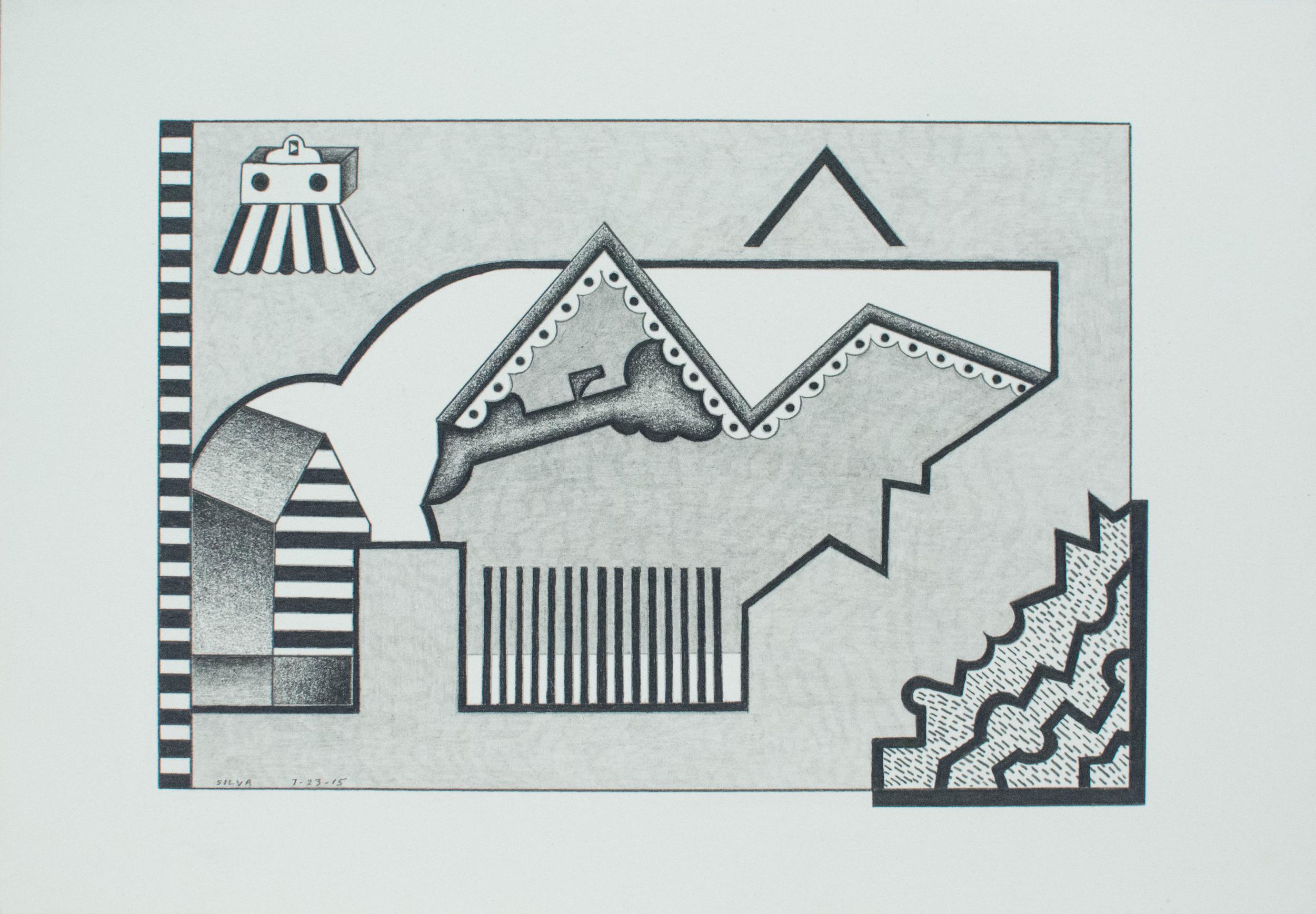 7-23-15, 2015, Graphite on paper, 7 x 10 inches
