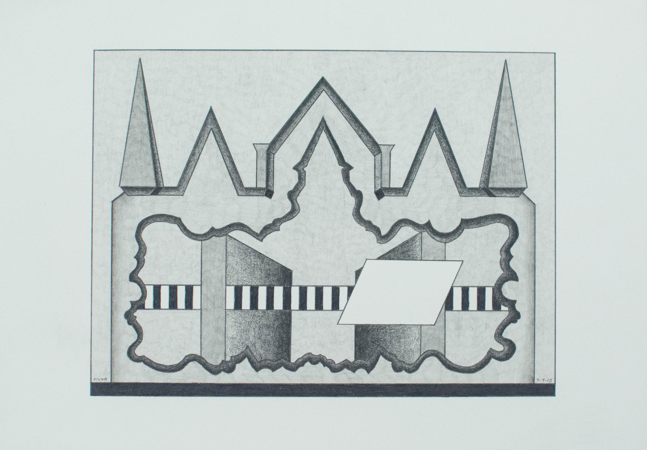 7-9-15, 2015, Graphite on paper, 7 x 10 inches