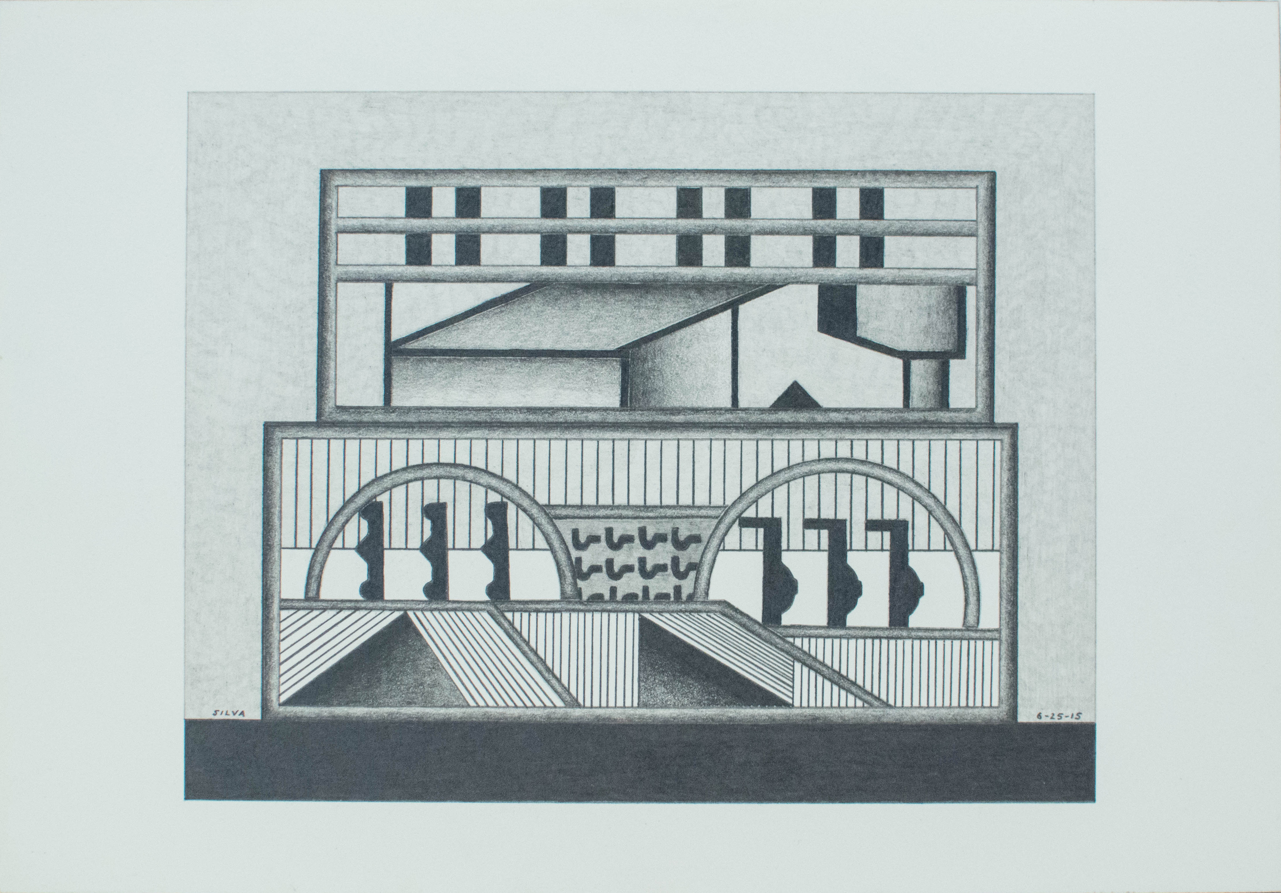 6-25-15, 2015, Graphite on paper, 7 x 10 inches