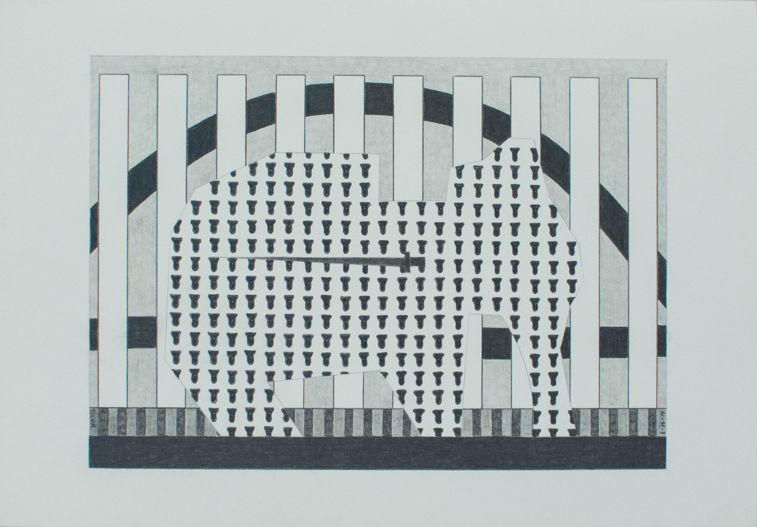 6-16-14, 2014, Graphite on paper, 7 x 10 inches