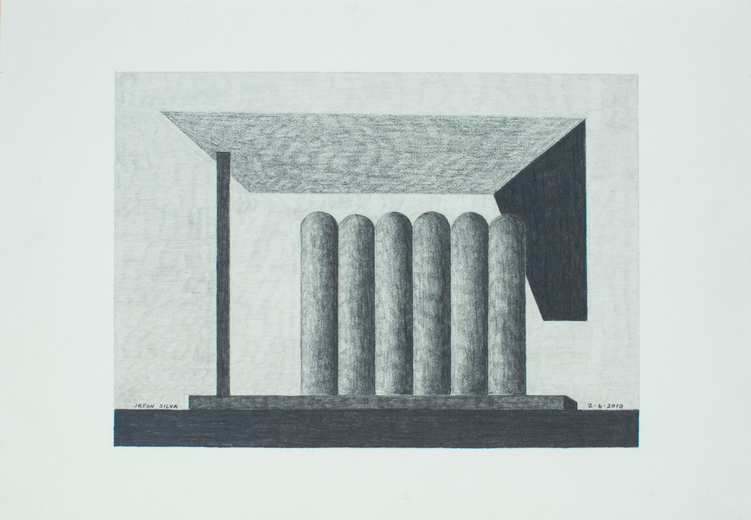 2-6-10, 2010, Graphite on paper, 7 x 10 inches