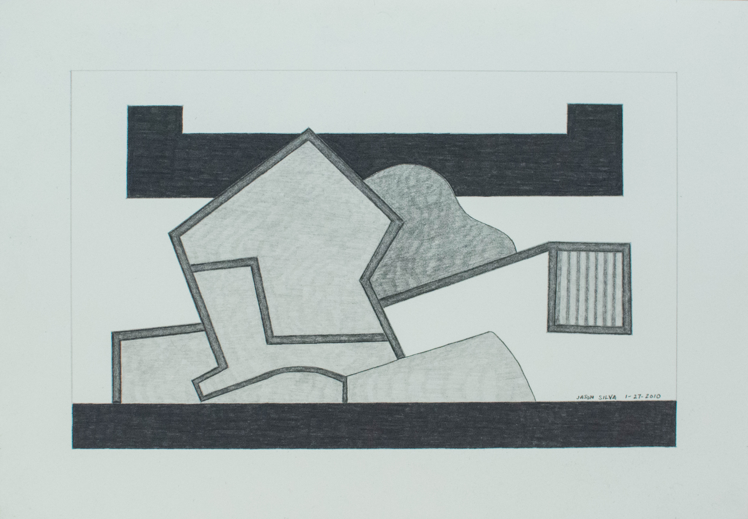 1-27-10, 2010, Graphite on paper, 7 x 10 inches