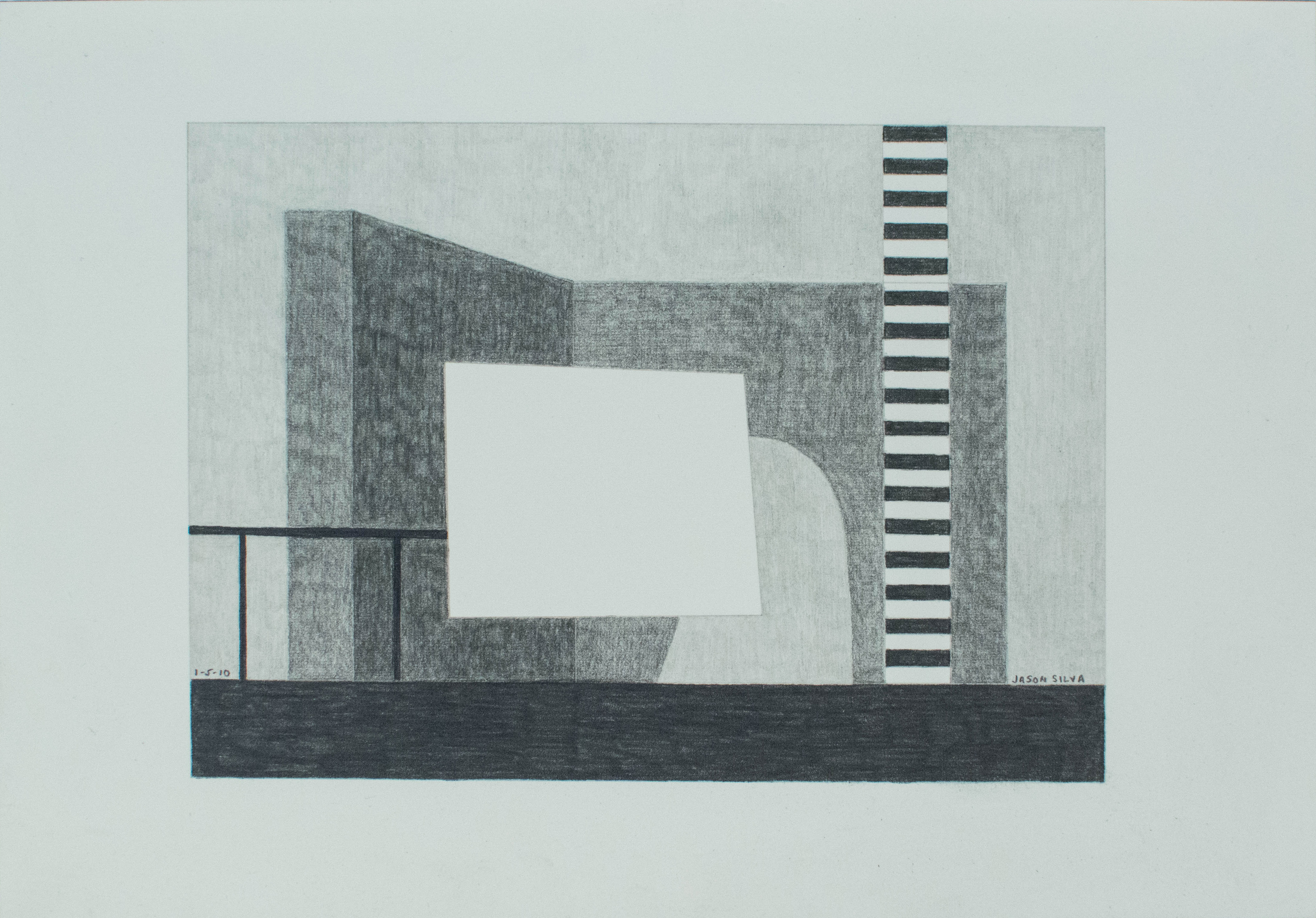 1-5-10, 2010, Graphite on paper, 7 x 10 inches
