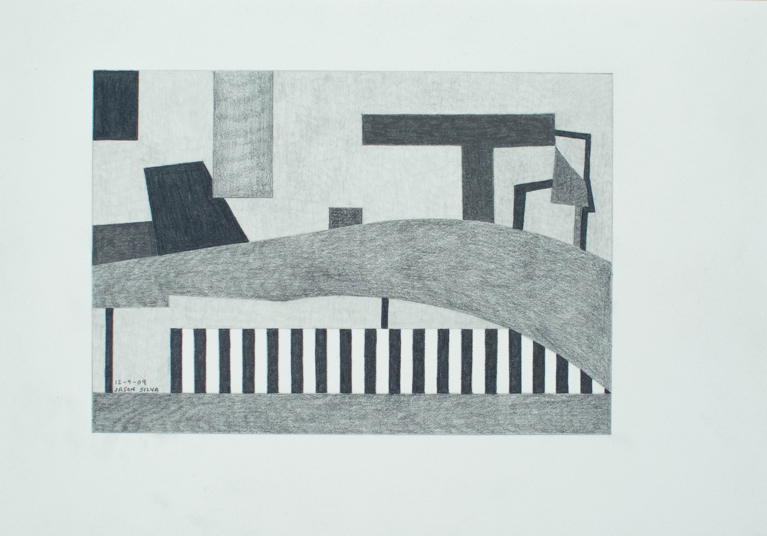 12-4-09, 2009, Graphite on paper, 7 x 10 inches