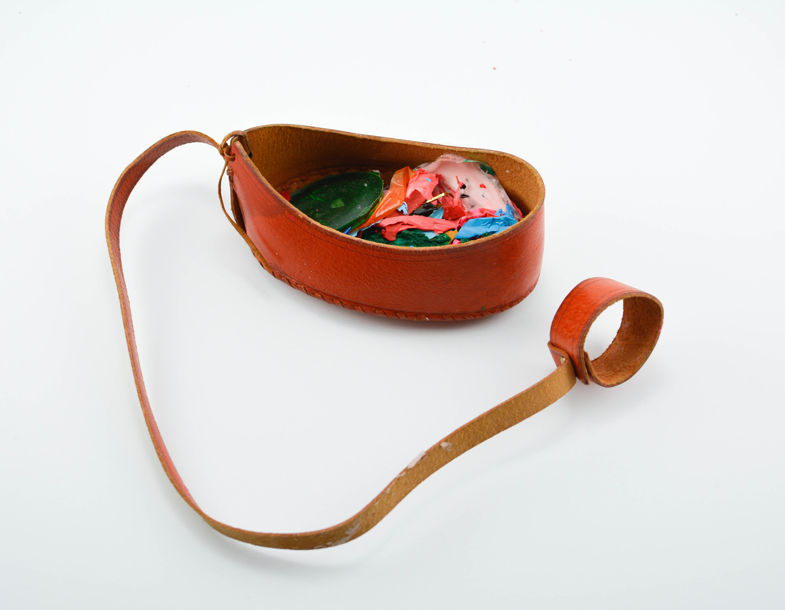 Meg Franklin,  Leather Case with Paint and Wax Chips