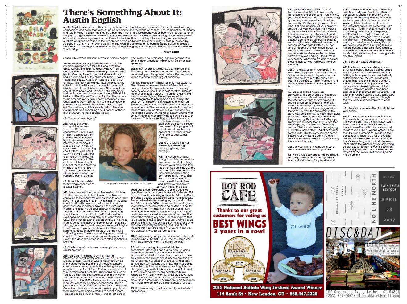 Two-page spread in the Spring 2017 issue of The Cut-Up.
