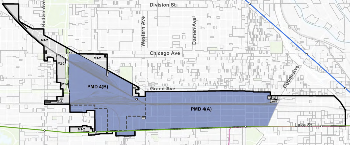 The PMD and its subareas are shown in blue. The black outline is the Kinzie Industrial Corridor.