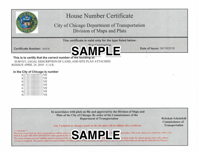 A sample of a House Number Certificate.