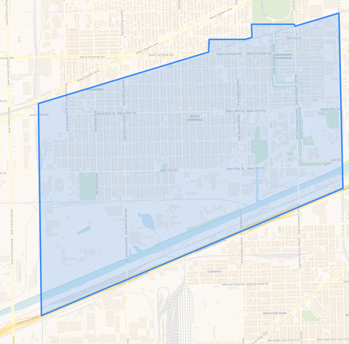 A map of the proposed Little Village ARO Pilot Area via  Chicago Cityscape