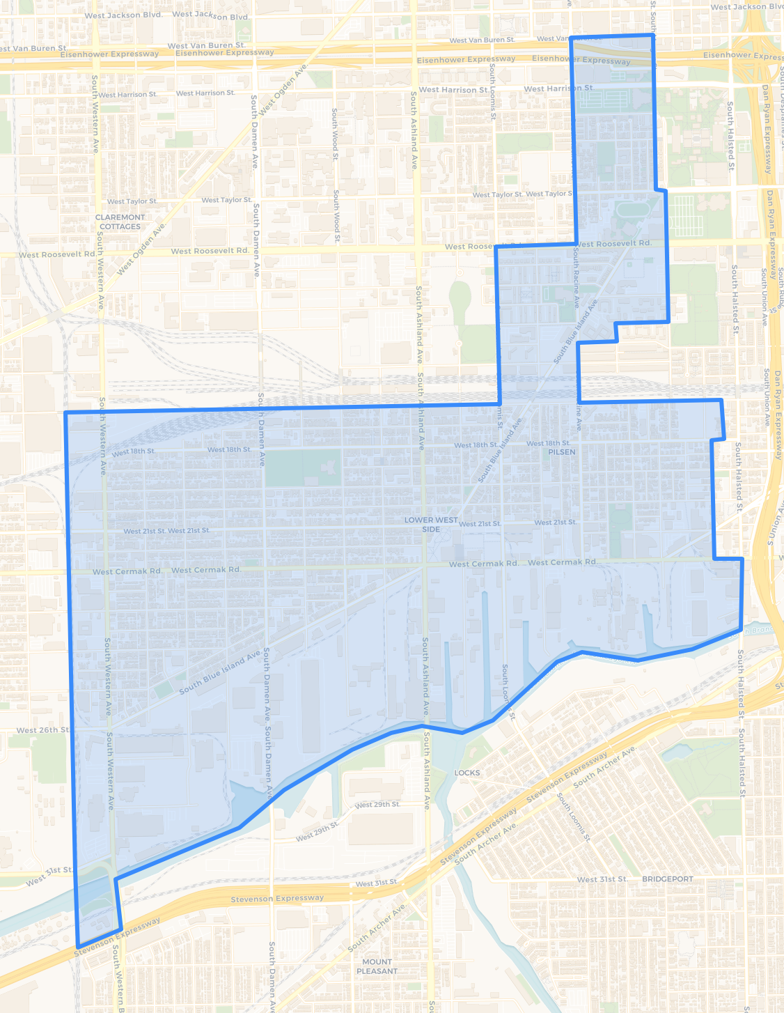 A map of the proposed Pilsen ARO Pilot Area via  Chicago Cityscape