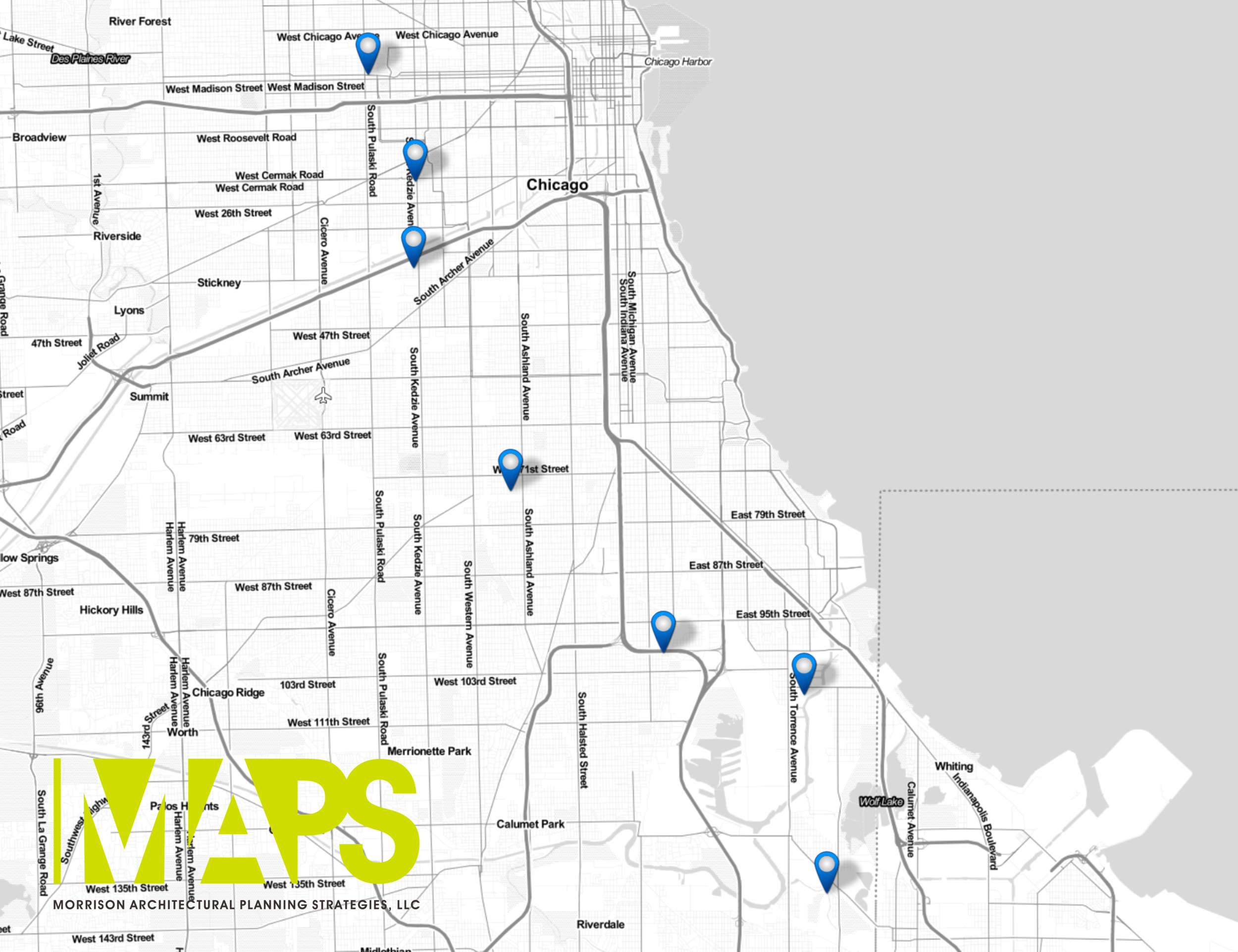 Map of the 7 vacant properties that Chicago Public Schools is selling.