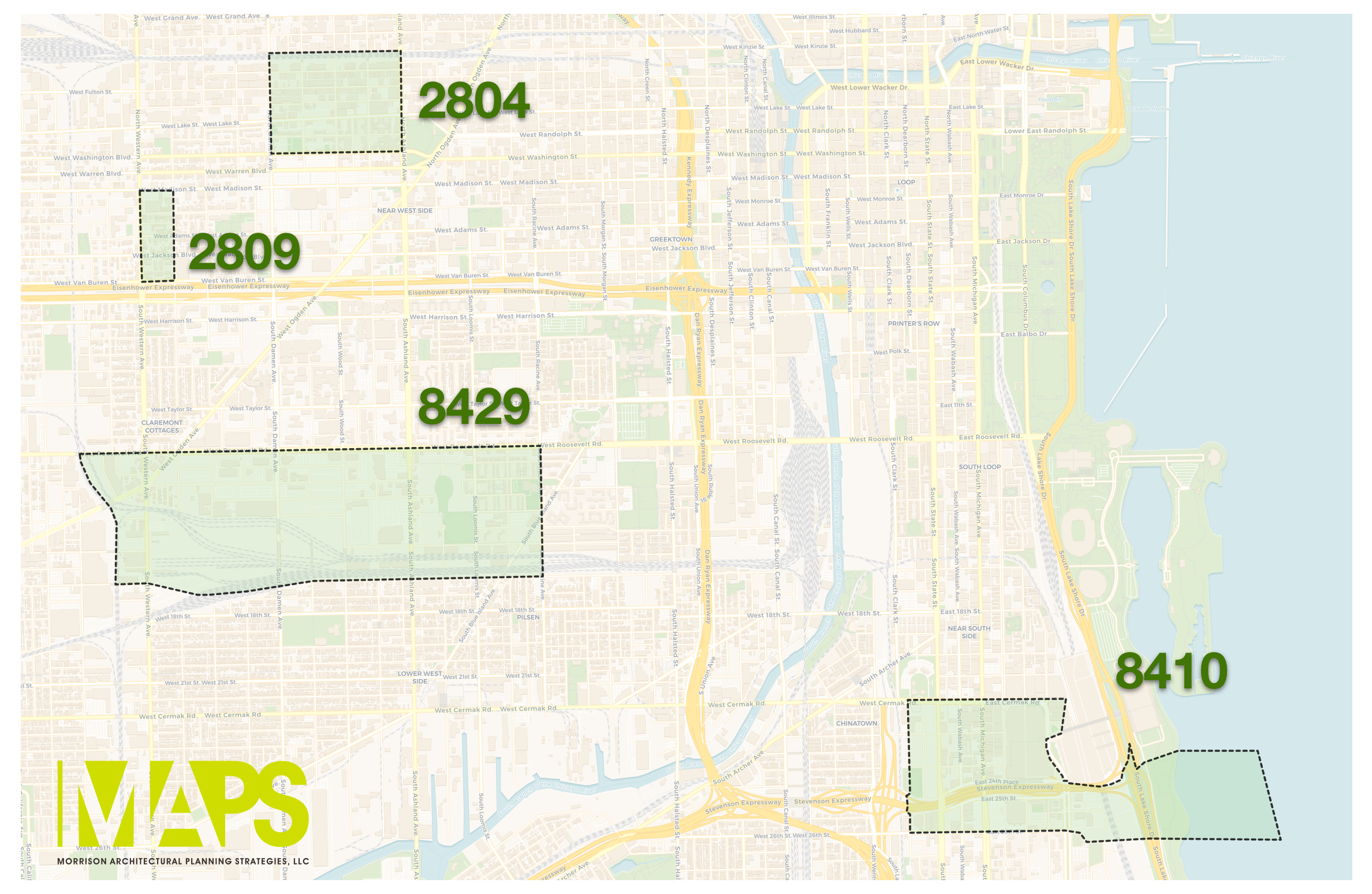 "Map: Four of the top 10 Opportunity Zones, ranked by their ""Smart Growth Potential""."