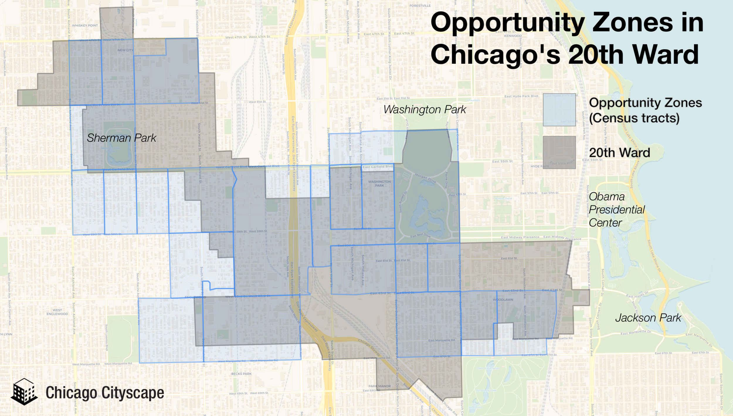 Take the 20th Ward for example, where 67% of the ward is in an Opportunity Zone (however, two large parks and expressway and railroad right of way occupy a large portion).